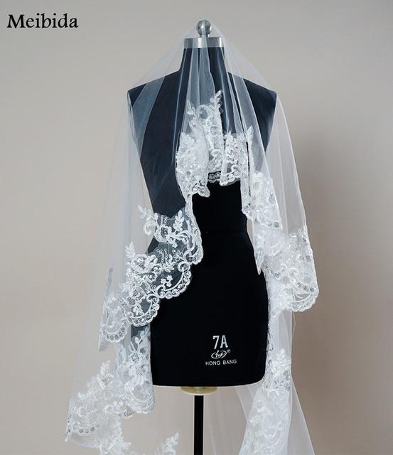 White Ivory Cathedral Wedding Veils Long Lace Edge Bridal Veil Mantilla Wedding Veil Sequined Bridal Wedding Accessories Bride