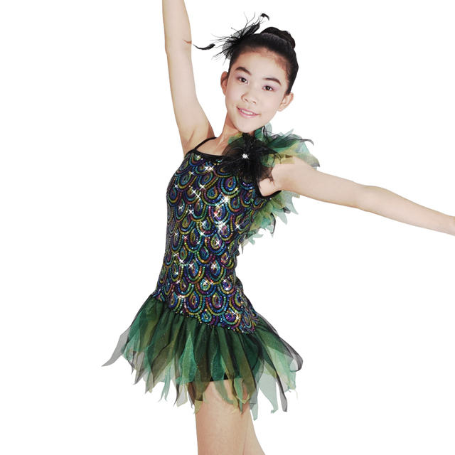d194f9edc MiDee Jazz Dress Dance Costume One Shoulder Ruffles Striking Peacock ...