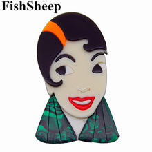 FishSheep Large Women Figure Acrylic Brooches And Pins Fashion Resin Girl Icon Big Brooch Pins Female Fashion Jewelry Accessory fishsheep large women figure acrylic brooches and pins fashion resin girl icon big brooch pins female fashion jewelry accessory