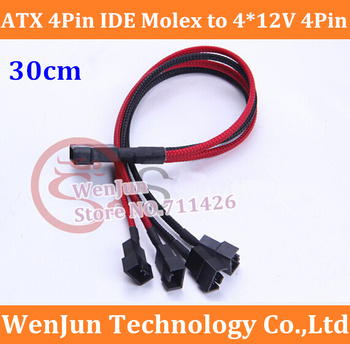 22AWG Wire ATX 4Pin 4P IDE Molex to 4 * 12V 4Pin Socket Cooling Fan Splitter Connector Jack Power Supply Cable Cord 100PCS/LOT