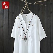 2017 new cotton and linen Crochet cutout 100% loose cotton embroidery shirt female summer one-piece dress short-sleeve