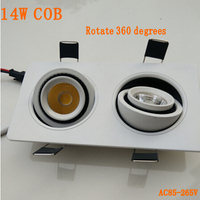 7W 2 Double Heads COB Ceiling Lights 360 Deg Square Rotary Gimbal Led Recessed Grid Ceiling