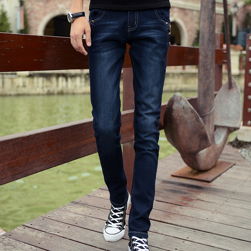 ФОТО 2016 Autumn Winter Men's Jeans Navy Blue Straight Jeans Male Casual Trousers Cotton Slim Fit Fashion Pencil Pants xb6039