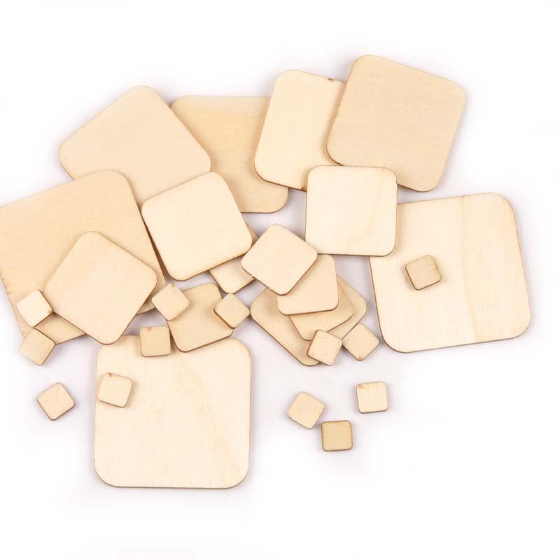 10/20/30/40/50mm Mix Square Wooden DIY Crafts Scrapbooking 50pcs Natural Wood Ornament For Handmade Home Decor Accessories M1889
