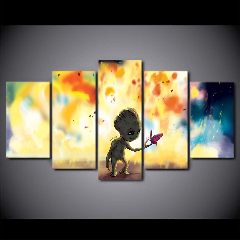 5 Panels Cartoon Baby Groot Painting Wall Poster For Kids Childrens ...