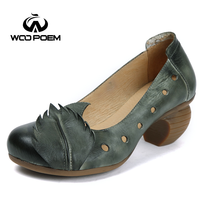 WooPoem Spring Autumn Shoes Woman Cow Leather Pumps Wedges High Heels Shoes Classic Retro Genuine Leather Women Pumps K168-1 247 classic leather