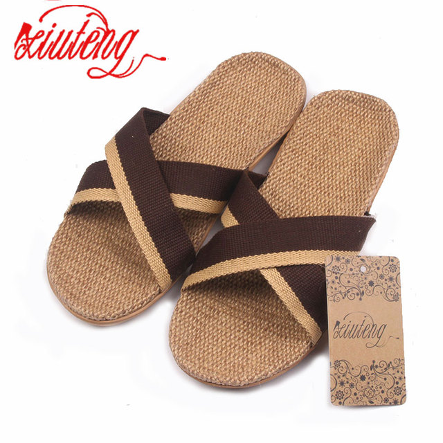 Xiuteng 2017 Home To Fight Cross-Color Linen Slippers Spring Canvas Flax Slippers High quality Large size Men Indoor Slippers