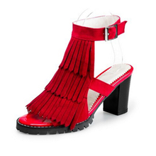 Mode Frauen Sandalen 2016 Design Ankle-Wrap Quaste Med Platz Heels Hohe Qualität Frauen Sommer Schuhe high heels z168