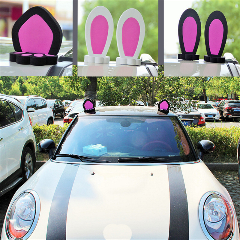 3D Universal Cat Ear Rabbit Ear Car Truck Roof Stickers Decal Decorations For Mini Car Styling Accessories