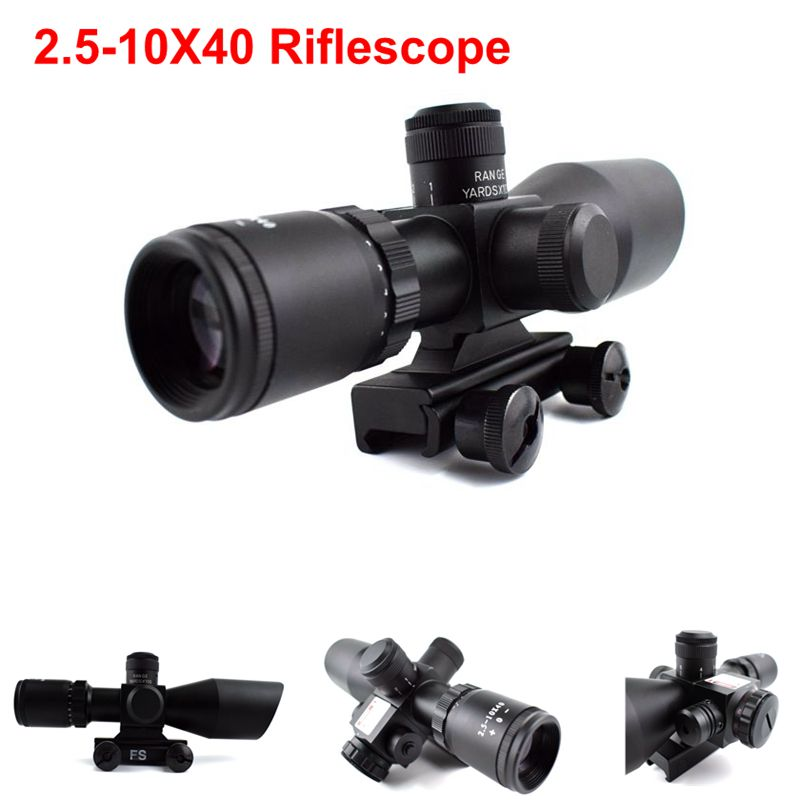 Tactical Gun Laser 2.5-10x40 Optics Air Rifle Scope With Red Laser Sight Military Hunting Shooting Scope Fit 11mm/20mm Rail Use hot tactical riflescope 2 5 10x40 optics red laser holographic sight scope illuminated shooting hunting scope 11 20mm rail mount