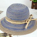 Simple Sombrero Del Verano Mujeres de La Manera Plegable Respiradero Negro Blanco Rayas de Malla de Ala ancha Floppy Beach Sun Sombreros C2