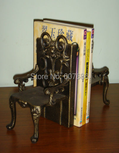 2 pieces antique cast iron chairs shape bookend book end high quality heavy metal home buy shape home office