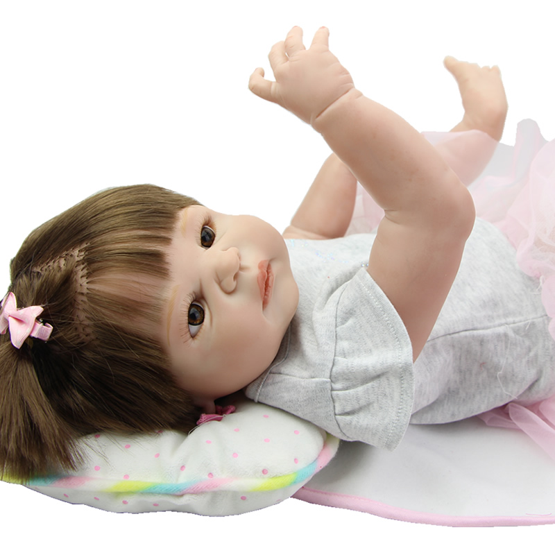 Newborn Babies Girl 23 Inch Realistic Baby Dolls Reborn Full Silicone Vinyl Princess Boneca Children Birthday Xmas Gift  realistic full vinyl 18 inch american doll girl baby reborn newborn dolls so truly real princess girls kids birthday xmas gift