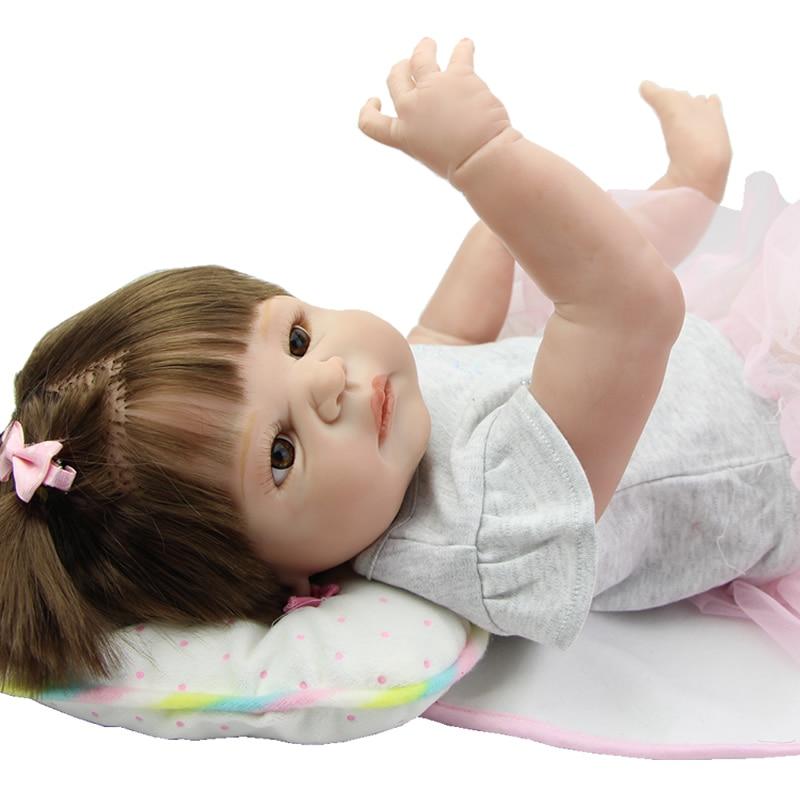 Newborn Babies Girl 23 Inch Realistic Baby Dolls Reborn Full Silicone Vinyl Princess Boneca Children Birthday Xmas Gift