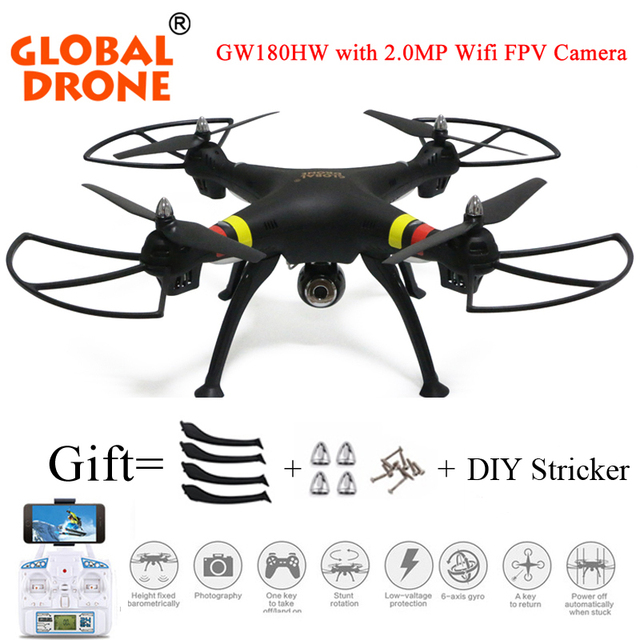 Global  Drone GW180 Professional Quadcopter Drone Quadcopter RC HelicopterHeight Hold Mode carry with fpv camera Vs Syma X8/X8HW