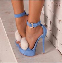 2017 High heel sexy ladies high platform light blue sweet style women sandals for summer spring cover heel ankle lace up shoes