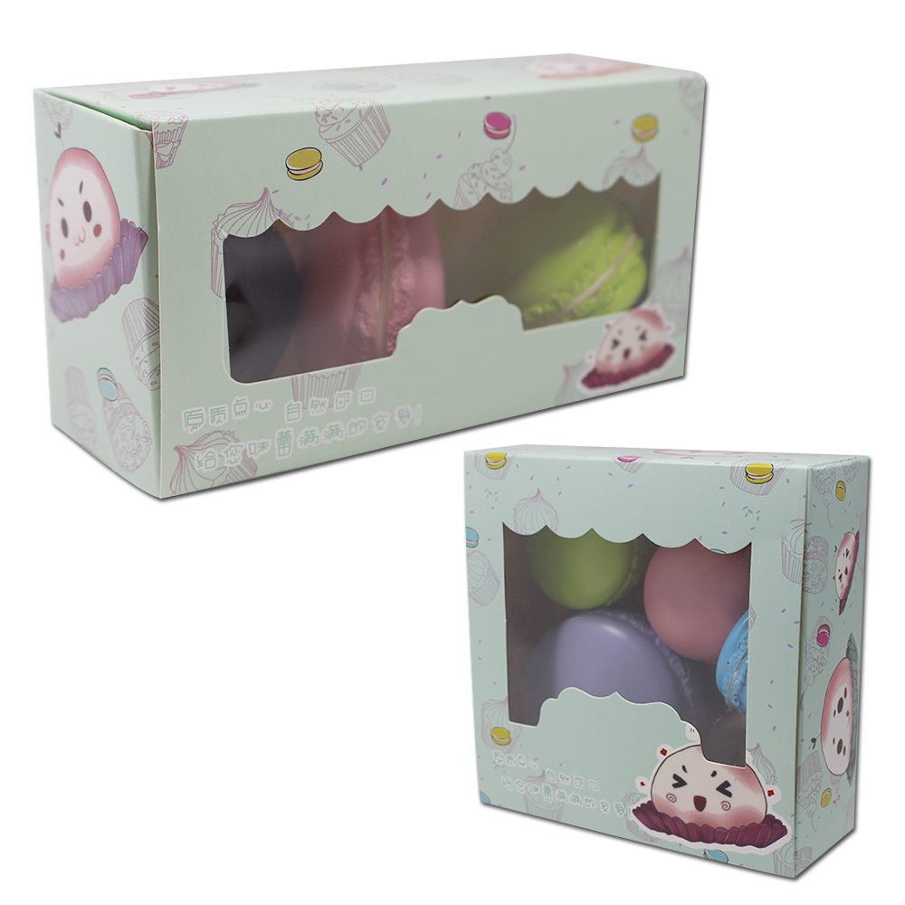 300Pcs 5 Design Printed Cardboard Cupcake Bread Muffins Boxes Baking Packaging With Clear Window Carton Gift Wedding Party Favor