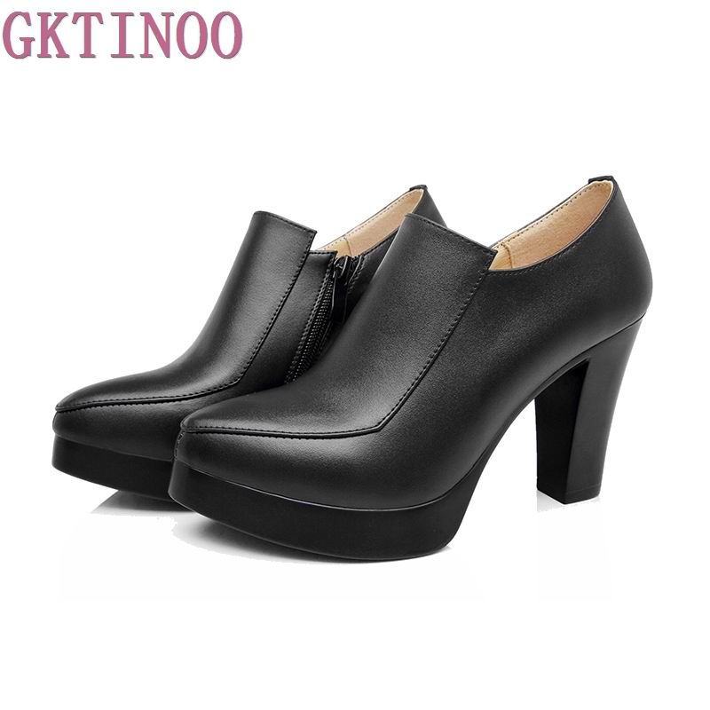 GKTINOO spring autumn women's shoes thick high heels fashion women genuine leather shoes first layer of cowhide platform pumps 2018 spring and winter new first layer of large size high heeled cowhide leather shoes bow with patent leather shoes female