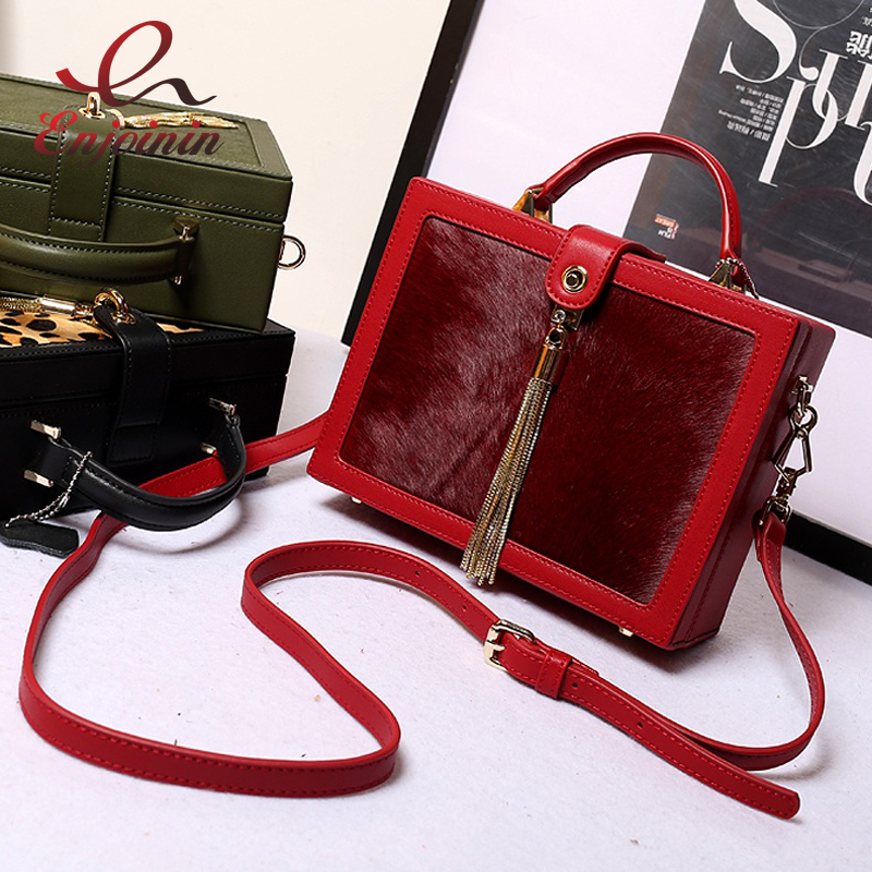 Vintage horse hair real leather metal tassel box modeling handbag ladies casual totes shoulder bag purse crossbody messenger bag new punk fashion metal tassel pu leather folding envelope bag clutch bag ladies shoulder bag purse crossbody messenger bag