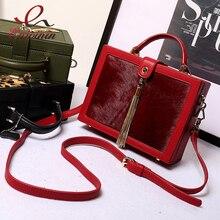 Vintage pferdehaar echt leder metall quaste box modellierung handtasche damen totes schultertasche handtasche crossbody umhängetasche