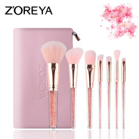 7PCS Pink Unicorn Makeup Brushes Quicksand Drill Drill Handle Artificial Fiber Pink Bag Makeup Tools