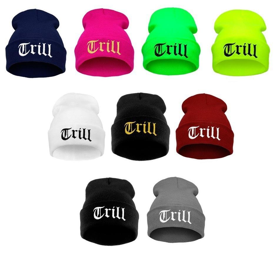 Nueva Llegada TRILL Beanie Hat Cap Hombres Hiphop Skullies Gorros de Punto  Sombreros para Hombres de Las Mujeres de Moda de Invi.