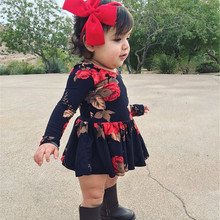 Newborn Baby Girls Floral Long Sleeve Party Dress Round Neck Summer Holiday Dress For Baby Girls