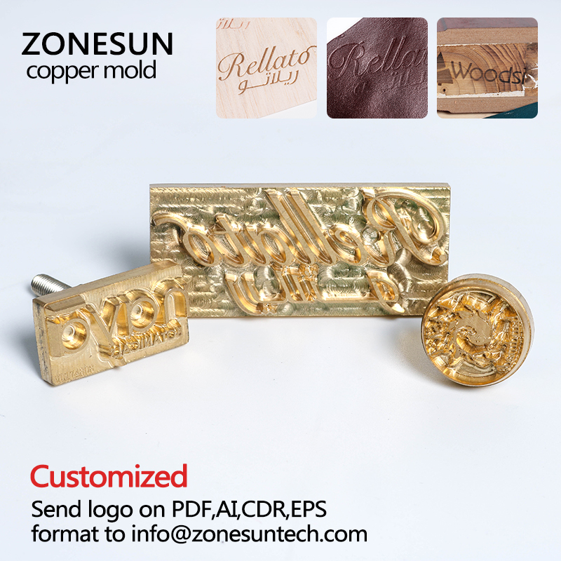 ZONESUN Emboss Mold for Leather,Wood,Plastic,Cake Hot Foil Stamping Logo Customize Mold Tool Branding Iron Heating Press Mould household product plastic dustbin mold makers