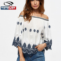 TOTRUST White Floral Embroidery Blouse Women 2017 Summer Sexy Loose Blouse Off Shoulder Crop Top Flare
