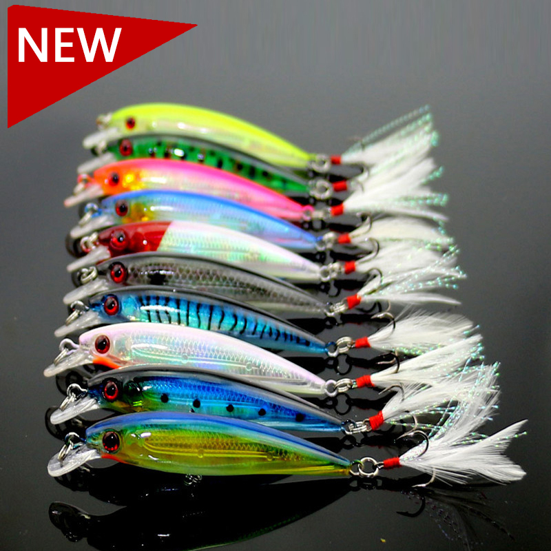 Fishing Lure Wobbler Laser Minnow 6# Feather hook Plastic Artificial hard lure Lifelike bait 10 pcs/lot 10 colors 9cm-8g (MI094)