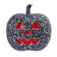 Lucky Sonny Pumpkin Pendant Black CZ Iced Out Pendants & Necklaces With Red Enamel Black Color Hip Hop Jewelry Holloween Gift