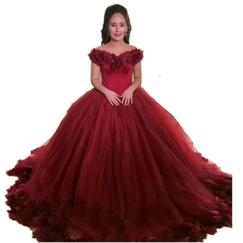 Newest V-Neck Off The Shoulder Lace Up Back Ball Gown Hand Made Flower Petal Organza   Prom     Dresses   Long Party Gowns For   Prom