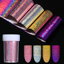 4*120cm Holo brillant ongle feuille Nail Art transfert autocollant violet or argent or Rose Laser autocollant décoration(China)