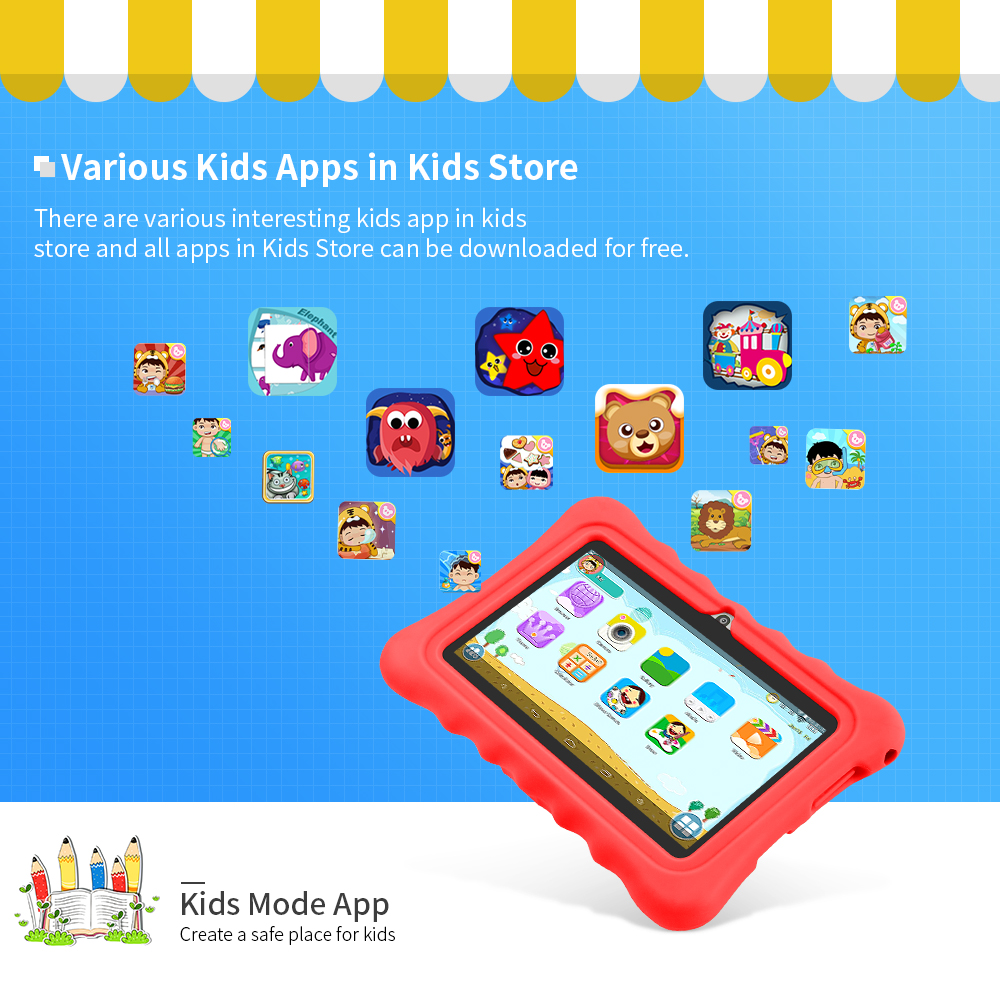 Yuntab red Q88H Quad Core touch screen kids Tablet PC load Iwawa kid software 3D-Game bluetooth4.0 with Chic stand Case