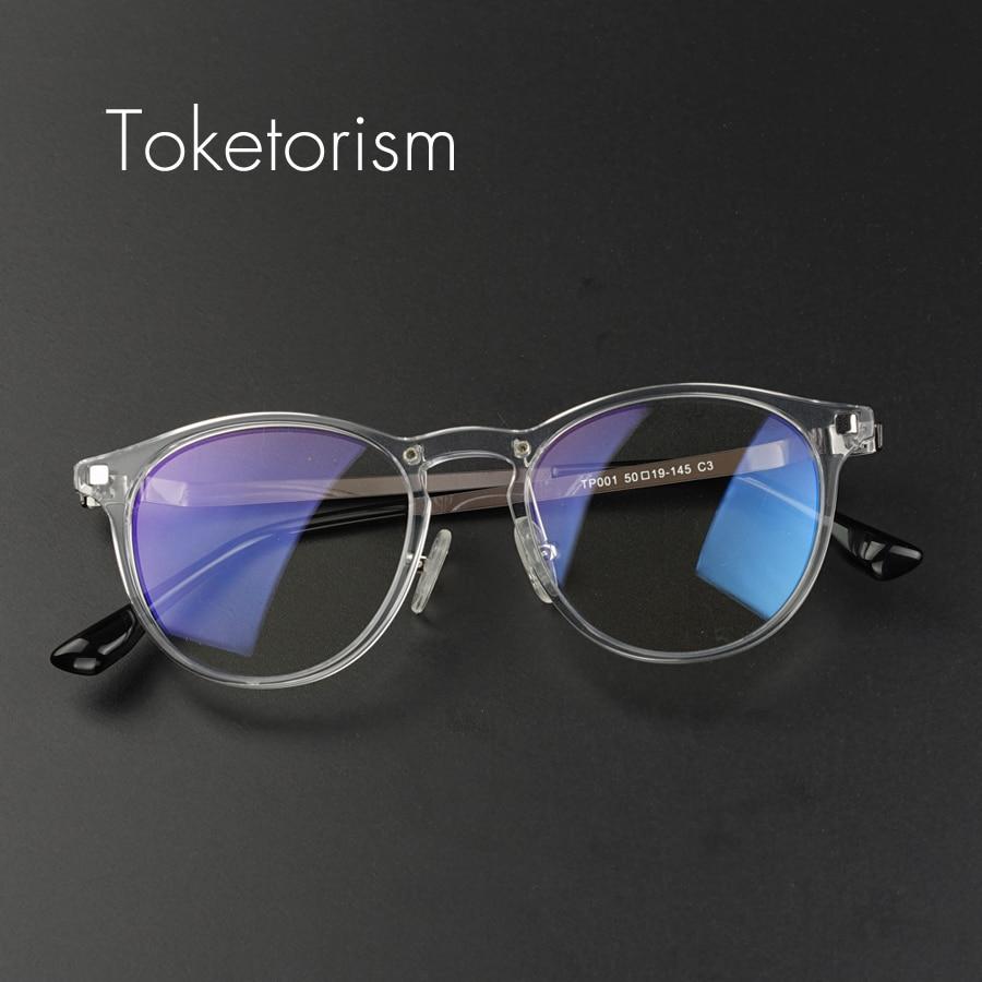 7064dcefa14a Toketorism quality acetate vintage men women glasses transparent round  prescription frame metal temples eyeglasses