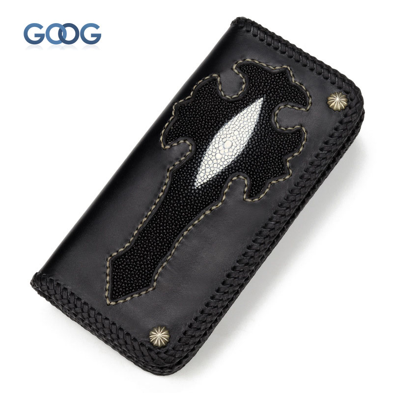 Здесь продается  Pearl fish skin wallet hand money chuck first layer of cowhide weave retro personality Ha Lei wind wallet long tide cool  Камера и Сумки