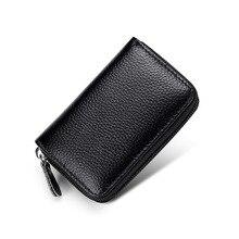Купить с кэшбэком Cowhide change card package leather multi-function portable ID card holder Zipper women wallets
