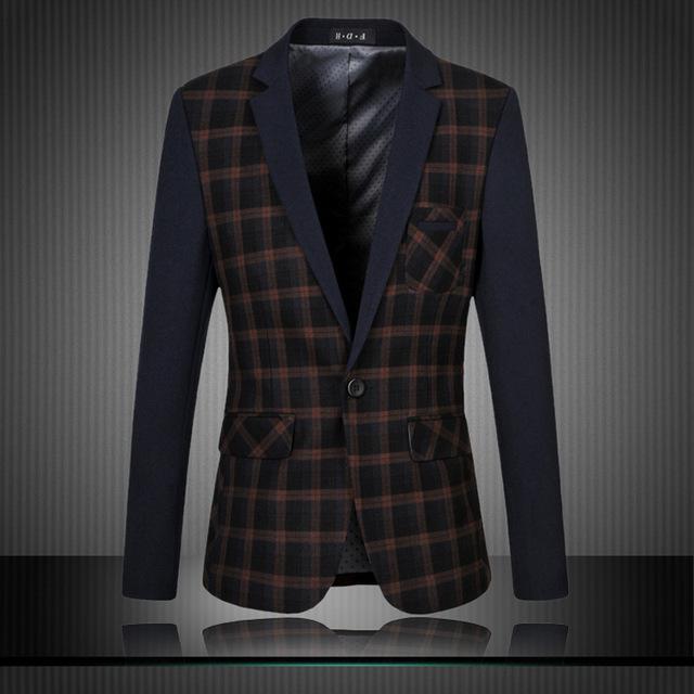 Vestido de Chaqueta de Los Hombres de Negocios de Gran Tamaño 6XL Blazers Costura Marea Ocio Chaqueta de Los Hombres de Algodón de Alta Calidad Para Hombre Trajes A Cuadros