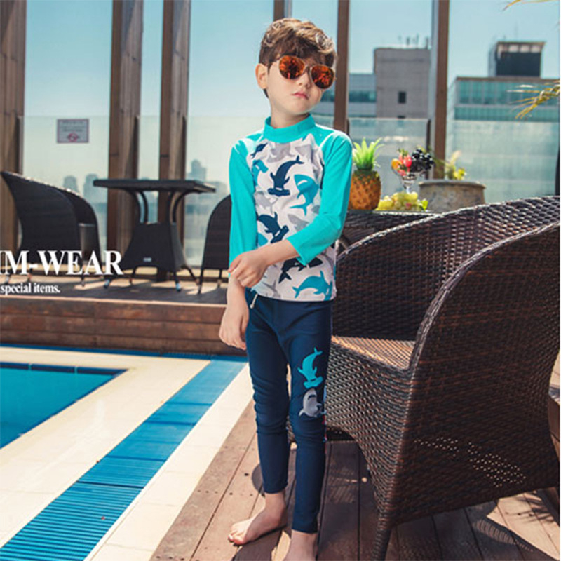 New Models 2-12 Y old Boys Rash Guards 2 Pieces Swimwear light blue & Dolphin print children Swimming long sleeve bathing suit