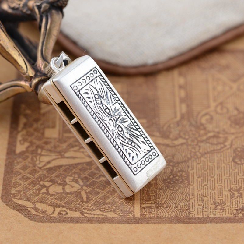S925 pendentif en argent Sterling en gros cerf en argent style antique pendentif harmonica à deux faces