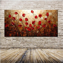 Frameless Red Flower Pictures Modern Abstract 100% Hand Painted Canvas Cartoon Drawing Diy Oil Painting By Numbers Free Shipping