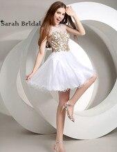 Reale Abbildungen Elegante Kurze Weiße Knielangen Cocktailkleider Mit Spitze Appliques Crystals vestido de festa curto AJ024