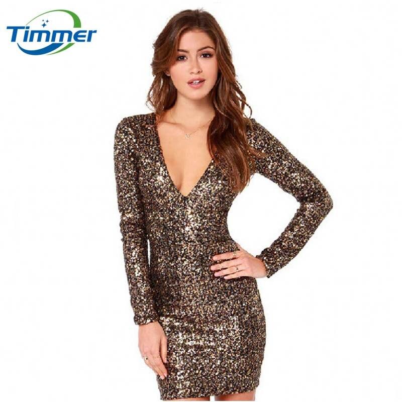 Buy Cheap 2016 Full Hot Sale Luxury Metallic Sequins V-neck Long Zipper Womens Dresses Slim Vestido Package Hip Pencil Women Summer Dress