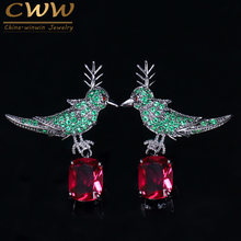 CWWZircons 2018 New Fashion Micro Pave Red Green Cubic Zircon Crystal Lucky Bird Drop Earrings Jewelry 925 Silver Pin CZ141(China)