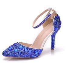 da6e5b4a3 Casamento Sapatos de Salto Alto Pontas Do Dedo Do Pé Partido Sapatos de  Cristal Sapatos de Noiva Branco Vestido de Baile Mulher .