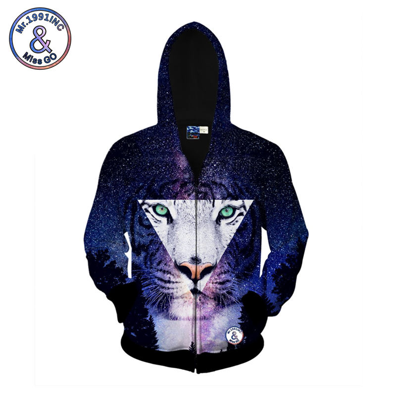 Mr.1991INC Men Sweatshirt New Style Hooded Jacket Starry Sky Tiger 3d Print Long Sleeve Hoodies Spring And Autumn Sweatshirts