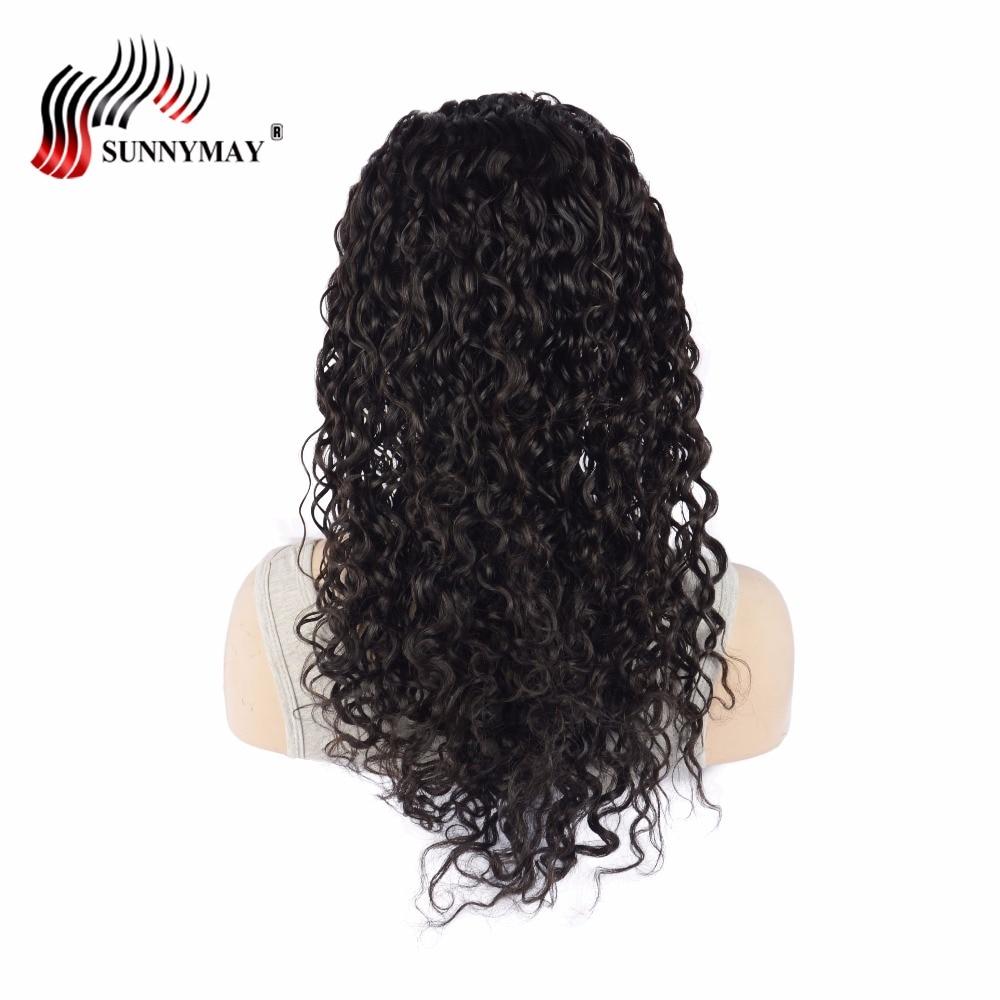 Brezilyalı Bakire Saç Su Dalga Dantel Ön İnsan Saç Peruk Siyah - İnsan Saçı (Siyah)