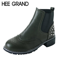 HEE GRAND Rivet Decoration Women Fashion Bullock Boots Thick Heel Winter Shoes Slip On Ankle Boots