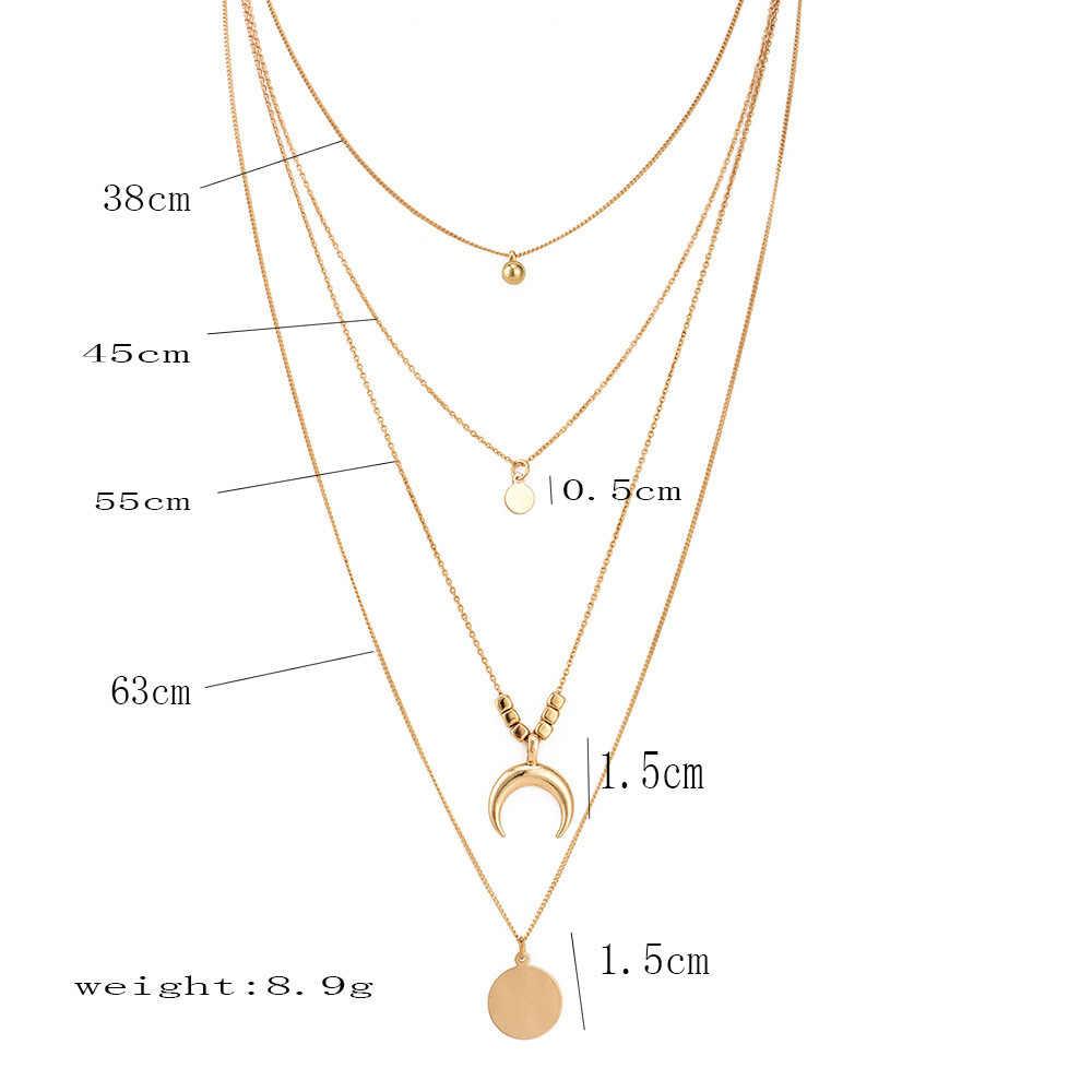 Złoty kolor moc naszyjniki dla kobiet długi księżyc Tassel wisiorek moc naszyjniki koronki aksamitne Chokers biżuteria