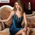 2017 Summer Strap V Neck 100% Real Silk Nightgowns Women Nightgown Women Nightwear Sexy Sleepwear Female Silk Nightdress